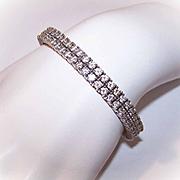 Vintage STERLING SILVER & Rhinestone Flexible Cuff Bracelet!