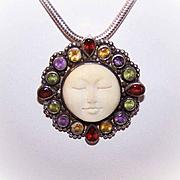 Vintage SAJEN Sterling Silver & Multi-Gemstone Pin/Pendant - Carved Moon Face!