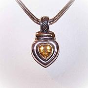 Vintage DAVID YURMAN 14K Gold, Citrine & Sterling Silver Heart Pendant!