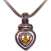 Vintage DAVID YURMAN 14K Gold, Citrine & Sterling Silver Heart Pendant!