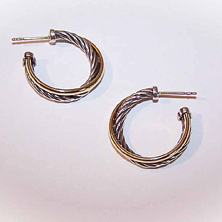 Vintage DAVID YURMAN Sterling Silver & 18K Gold Cross Over Hoop Earrings (Small)!