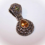 Vintage JOHN HARDY Sterling Silver, 18K Gold, Peridot & Citrine Pendant!