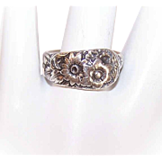 Vintage S. KIRK & SON Sterling Silver Spoon Ring - Daisies/Sunflowers!