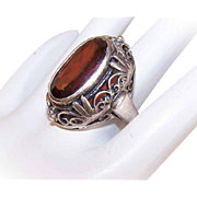 Vintage STERLING SILVER & Garnet Fashion Ring!