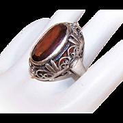 Vintage STERLING SILVER & Garnet Fashion Ring!