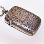 ANTIQUE EDWARDIAN English Sterling Silver Match Safe!
