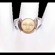 Vintage STERLING SILVER, 14K Gold & Carved Moon Face Ring!