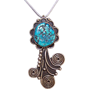 60s NATIVE AMERICAN Sterling Silver & Natural Turquoise Nugget Pendant!