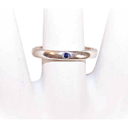 Vintage Elsa Peretti, TIFFANY & CO Sterling Silver & Sapphire Stacker Ring!