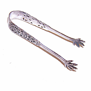 Vintage T. Marthinsen, Norway  STERLING SILVER SUGAR TONGS w/ Pierced Curlicue Design!