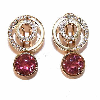 Awesome 18K Gold, 8.50CT TW Diamond & Pink Tourmaline Drop Earrings!