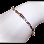 Vintage STERLING SILVER & Amethyst Paste/Purple Rhinestone Link Bracelet!