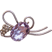 Retro STERLING SILVER, Amethyst Paste & Faux Pearl Pin/Brooch!