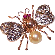 FRENCH 18K Gold, Rose Cut Diamond, Ruby & Pearl INSECT Pin/Brooch!