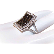 Vintage STERLING SILVER & Rhinestone/CZ Fashion Ring!