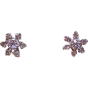 Vintage 14K Gold & .28CT TW Diamond Pierced Earrings (Studs) - Floral Design!