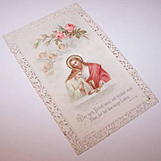 C.1906 GERMAN Religious First Communion Card - Jesus, Angels & Pink Roses!