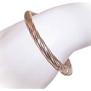 Vintage ITALIAN Sterling Silver Hinged Bangle Bracelet!