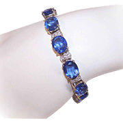 RETRO MODERN Sterling Silver & Cubic Zirconia Tennis Bracelet!