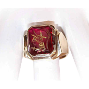Vintage GENTS 10K Gold & Glass Intaglio Ring - Knights Head!