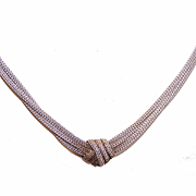 Vintage ITALIAN Sterling Silver Snake Chain Necklace with Center Knot!