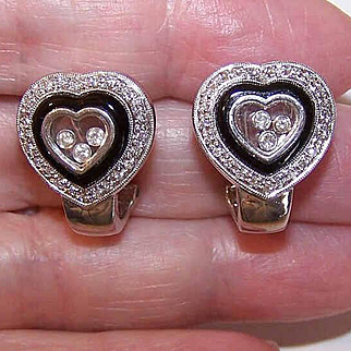 "ESTATE 14K White Gold, Onyx & ""Happy Diamond"" Heart Shaped Pierced Earrings!"