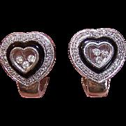 """ESTATE 14K White Gold, Onyx & """"Happy Diamond"""" Heart Shaped Pierced Earrings!"""