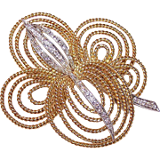 Estate RETRO MODERN 18K Gold & .50CT TW Diamond Pin/Brooch!