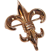 Vintage GOLD FILLED Watch Pin - French Fleur de Lis!