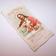 C.1906 GERMAN Religious First Communion Card - Jesus & Angels!
