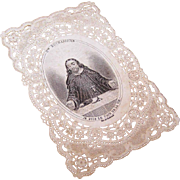 C.1890 FRENCH Paper Lace Religious Card - Image of Jesus (I am the Bread of Life)!