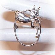"Sweet VINTAGE Sterling Silver ""Guardian Angel"" Pin/Brooch by Jezlaine!"