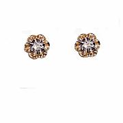 RETRO MODERN 14K Gold & .10CT TW Diamond Pierced Earrings/Studs!