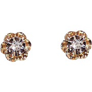 RETRO MODERN 14K Gold & .10CT TW Diamond Pierced Earrings/Studs!