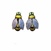 Vintage CHINA SILVER & Enamel Pierced Earrings - Blue Bottle Flies!
