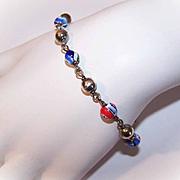 Vintage STERLING SILVER & Italian Millefiori Glass Bead Bracelet!