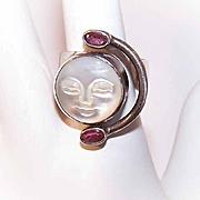 Vintage SAJEN Sterling Silver, Garnet & Mother of Pearl Carved Moon Face Ring!