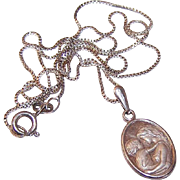 Vintage Italian STERLING SILVER Pendant & Chain Necklace - Mother & Child!
