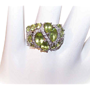 Vintage STERLING SILVER, Peridot & Diamond Fashion Ring!