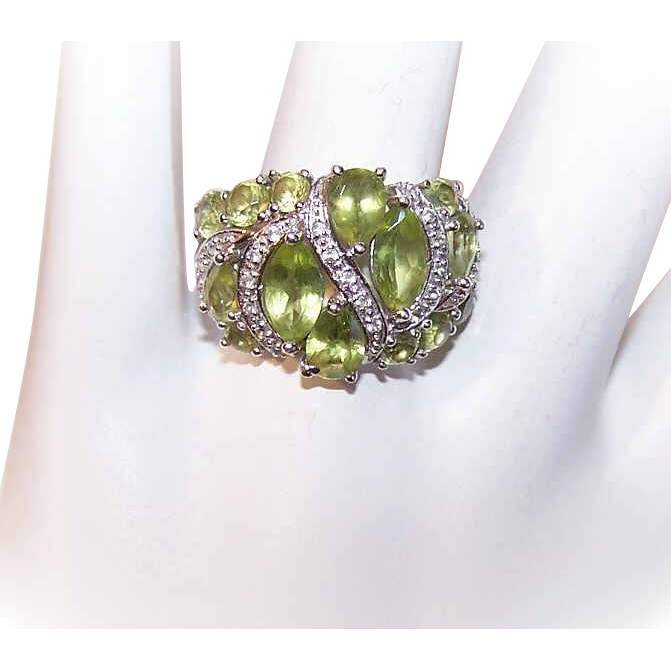 vintage sterling silver peridot amp diamond fashion ring