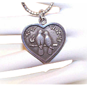 Adorable STERLING SILVER Heart Pendant with Two Turtle Doves by Kurt Morrison!