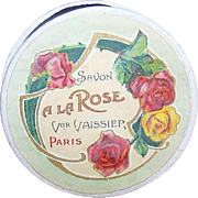 C.1900 FRENCH PILLBOX with Savon a la Rose Label!
