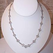 Vintage 14K Gold & 2CT TW Diamond Floral Necklace!