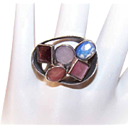 Vintage Sterling Silver & Multi-Gemstone Ring - Moonstone Quartz, Amethyst & More!