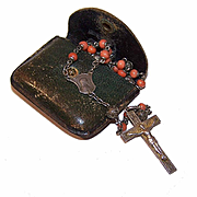 C.1910 Art Nouveau FRENCH SILVER & Coral Rosary with Original Case!