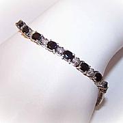 VIntage STERLING SILVER Vermeil, Sapphire & Diamond Tennis Bracelet!