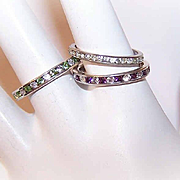 3 Vintage STERLING SILVER & Rhinestone Stacker Rings - Clear, Purple & Peridot!