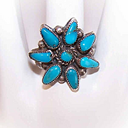 "Vintage STERLING SILVER & Turquoise ""Star"" Ring - Native American Design!"