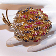 French RETRO MODERN 18K Gold, 4.59CT TW Diamond, Ruby & Sapphire Fur Clip/Pin/Brooch!
