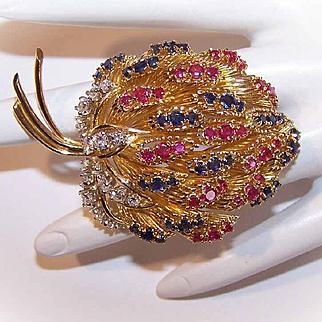French RETRO MODERN 18K Gold, 4.59CT TW Diamond, Ruby & Sapphire Fur Clip/Pin/Brooch!